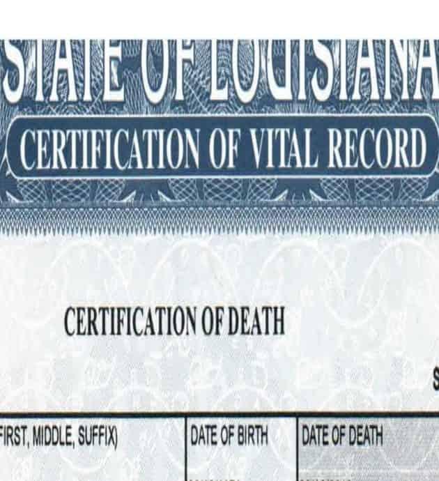 louisiana certificate of death