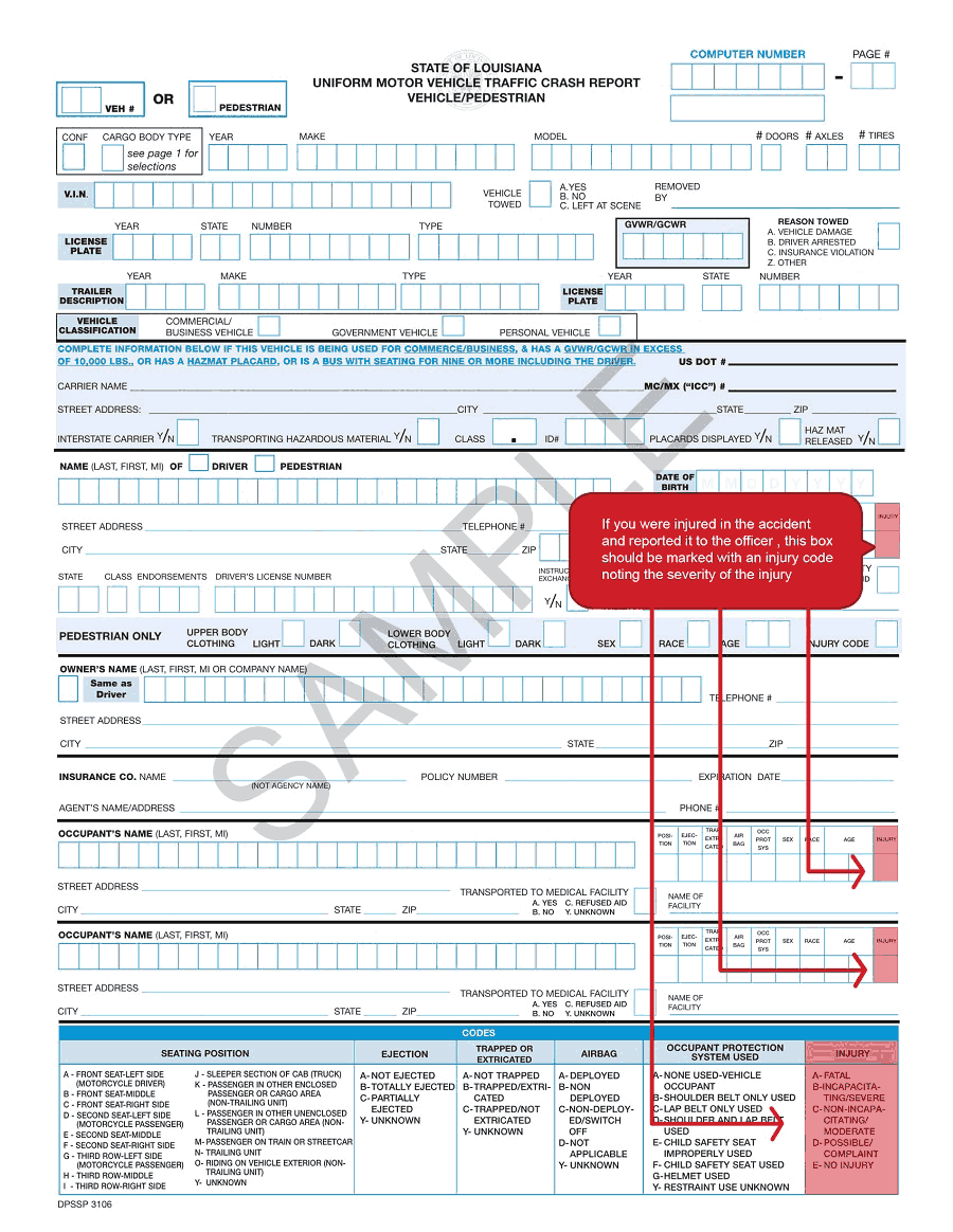 New Orleans Accident Report Injury Code