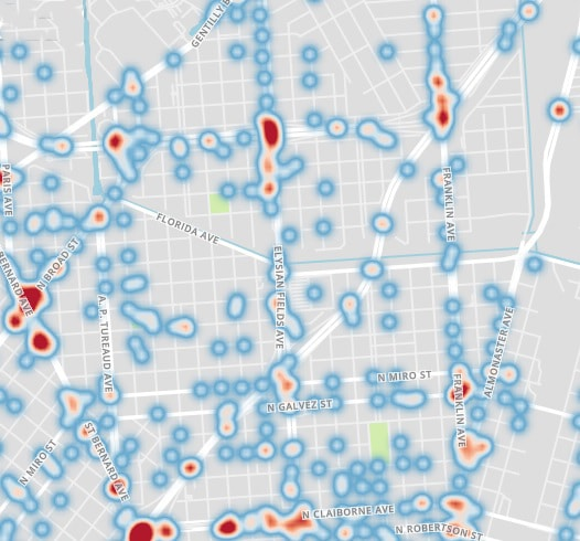 Car Accident Heat Map 2020 St Roch District New Orleans