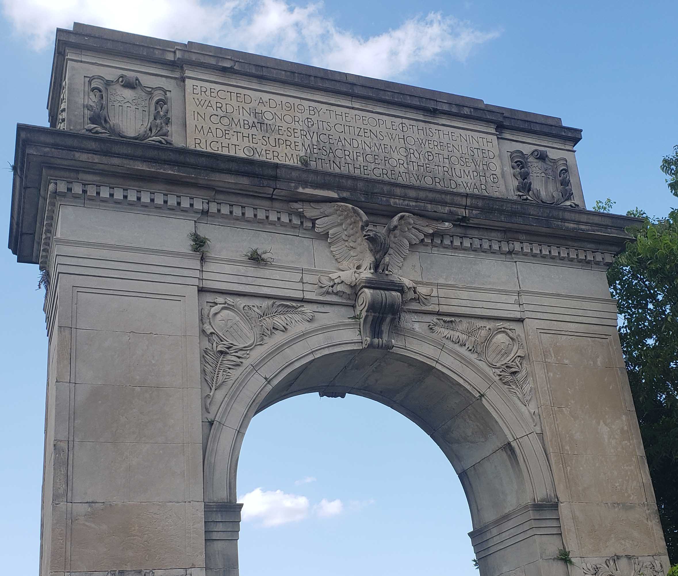 Victory Arch Dedicated In 1919 To People of the 9th Ward Who Fought & Died In World War I