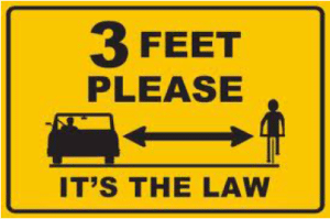 A three foot distance must be present between the passing automobile and slower traveling bicyclists.