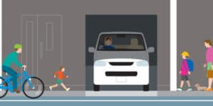 The driver of a vehicle emerging from any alley, driveway or building shall stop such vehicle immediately prior to driving onto a sidewalk or the sidewalk area extending across any alleyway, yielding the right-of-way to any pedestrian, and upon entering the roadway shall yield the right-of-way to all vehicles approaching on such roadway.